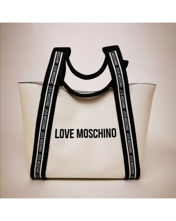 LOVE MOSCHINO - Leather shopping bag - White