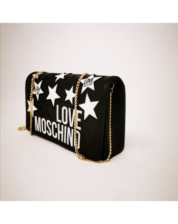 LOVE MOSCHINO - Leather bag with quilted strars - Black