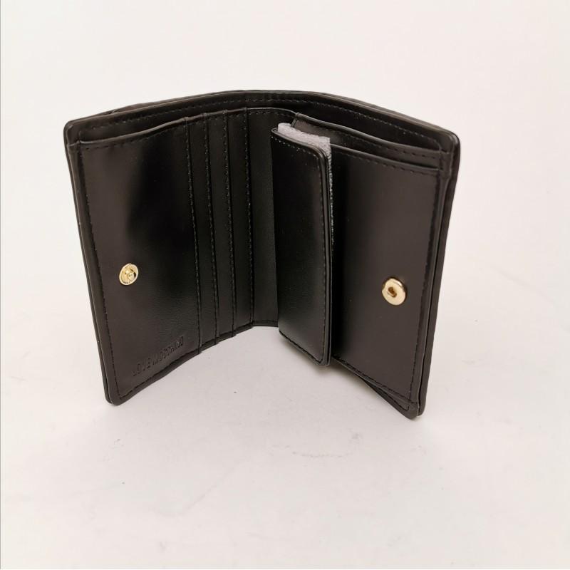 LOVE MOSCHINO - Metallic Logo Wallet - Black
