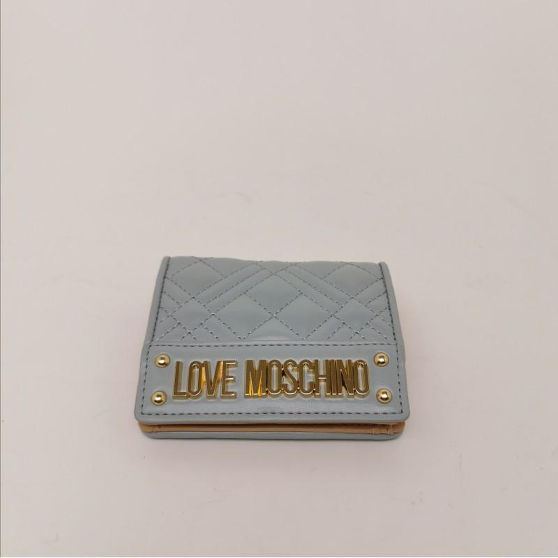 LOVE MOSCHINO - Metallic Logo Wallet - Cloud
