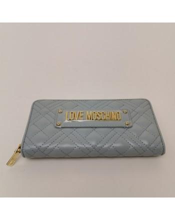 LOVE MOSCHINO - Portafogli Zip Around con Logo Metallico - Nuvola