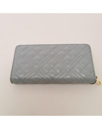 LOVE MOSCHINO - Zip Around Metallic Logo Wallet - Cloud