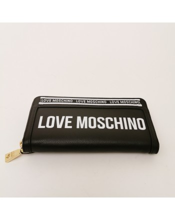 LOVE MOSCHINO - Portafogli Zip Around con Logo Band - Nero