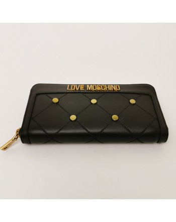 LOVE MOSCHINO - Portafogli  Zip Around con Borchie Metalliche - Nero