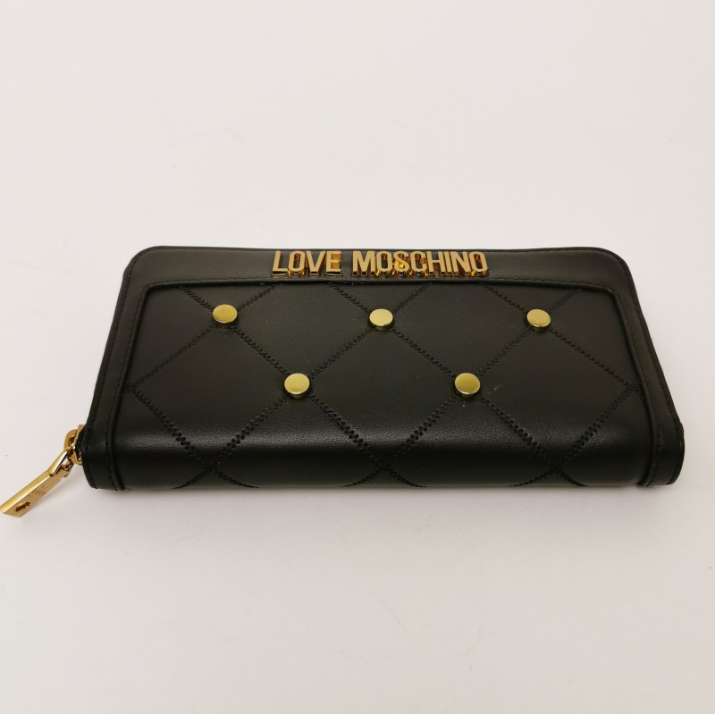 LOVE MOSCHINO - Metallic Studs Zip Around Wallet - Black