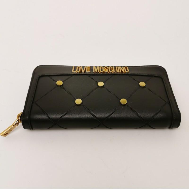 LOVE MOSCHINO - Portafogli  Zip Around con Borchie Metalliche - Nero