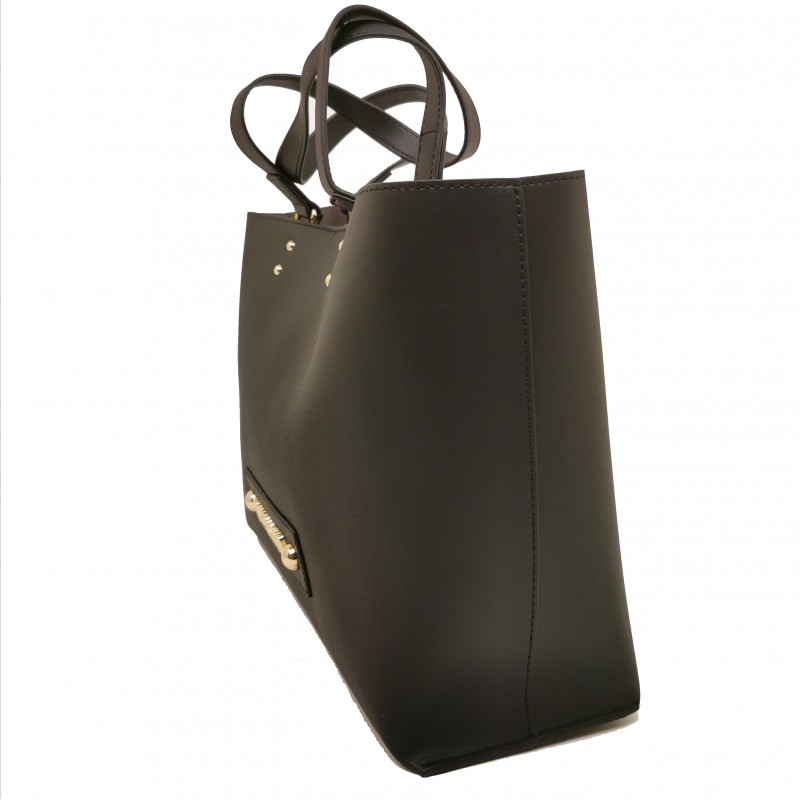 LOVE MOSCHINO - Shopping leather bag - Black