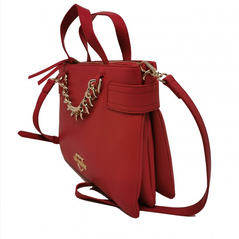 LOVE MOSCHINO - Leather Bag with Heart Chain - Red