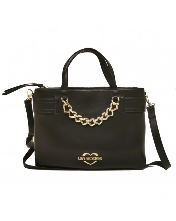 LOVE MOSCHINO - Leather Bag with Heart Chain - Black