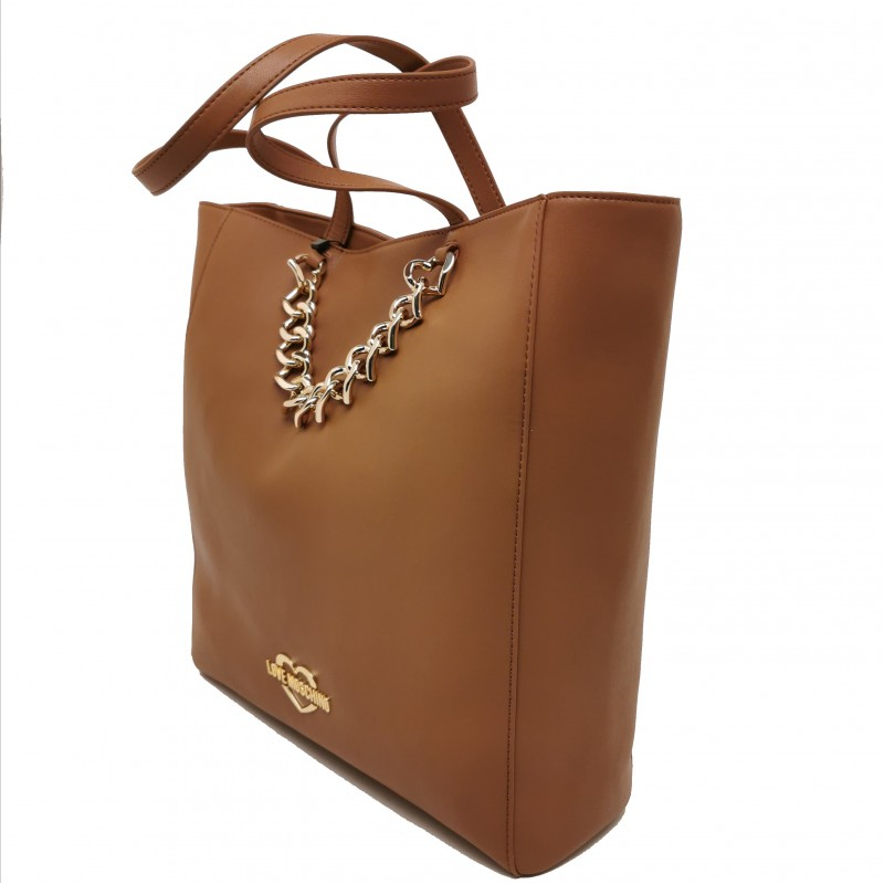 LOVE MOSCHINO - Big Shopping Bag with Heart Chain - Leather