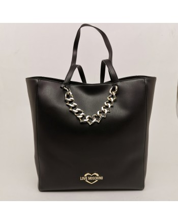 LOVE MOSCHINO - Big Shopping Bag with Heart Chain - Black