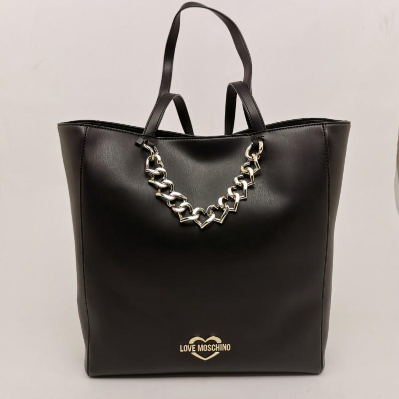 LOVE MOSCHINO - Big Shopping Bag with Heart Chain - Black