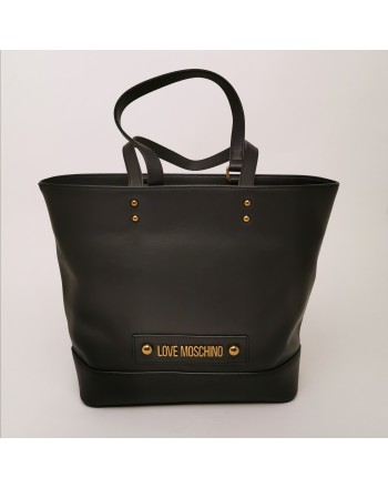 LOVE MOSCHINO - Borsa Shopping con Logo Tag - Nero