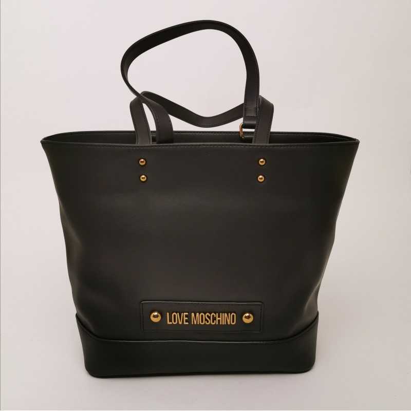 LOVE MOSCHINO - Shopping Bag with Logo Tag - Black