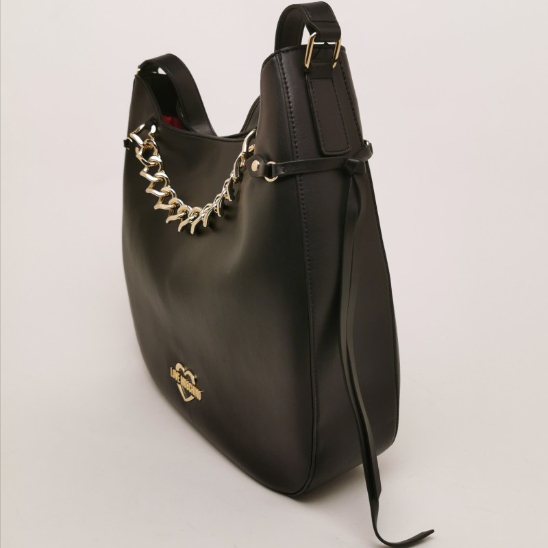 LOVE MOSCHINO - Faux Leather Satchel Bag with Heart Chain - Black