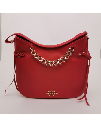LOVE MOSCHINO - Leather Satchel Bag with Heart Chain - Red