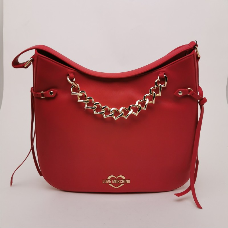 LOVE MOSCHINO - Faux Leather Satchel Bag with Heart Chain - Red