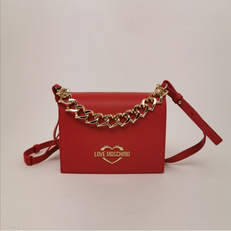 LOVE MOSCHINO - Leather Shoulder Bag with Heart Chain- Red