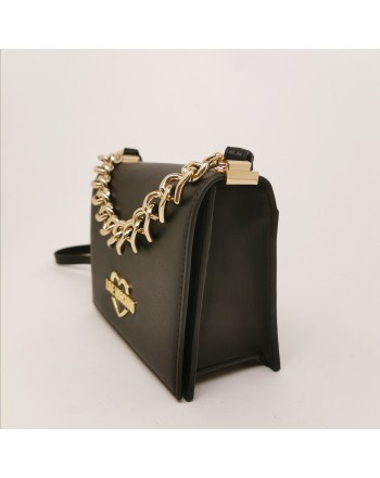 LOVE MOSCHINO - Leather Shoulder Bag with Heart Chain- Black