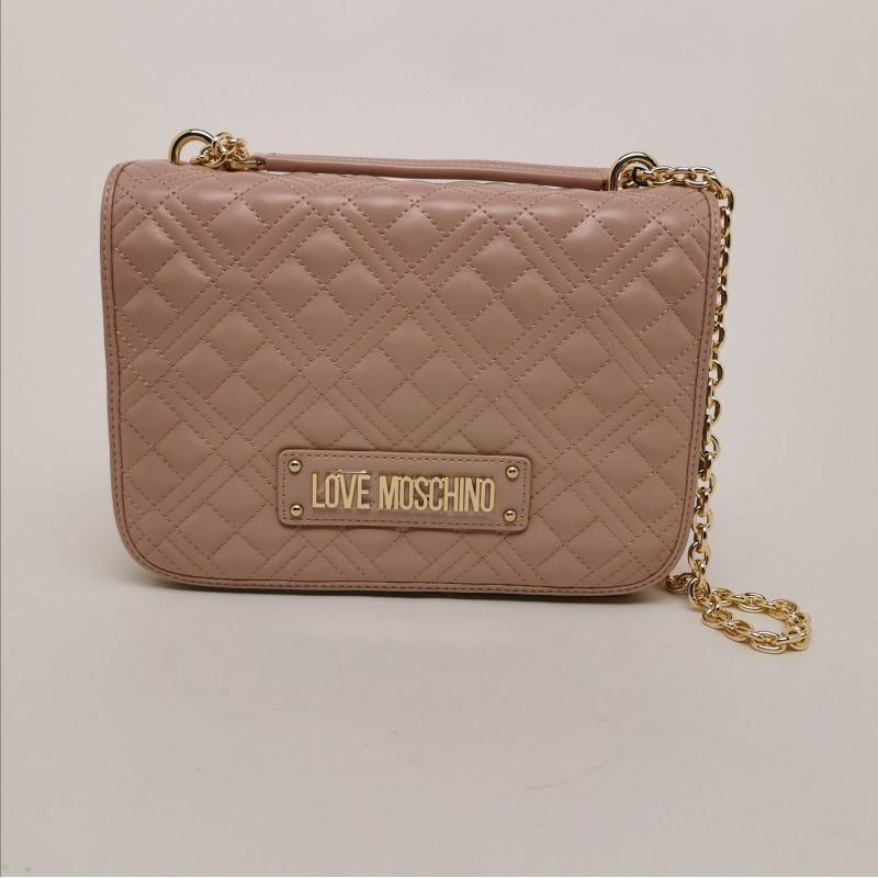 LOVE MOSCHINO - Quilted Bag with Metallic Chain - Pink