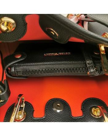 EMPORIO ARMANI - Leather shopping bag - Black/Red