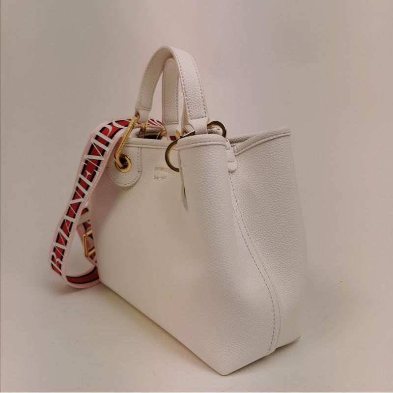 EMPORIO ARMANI - Leather shopping bag - White/Leather