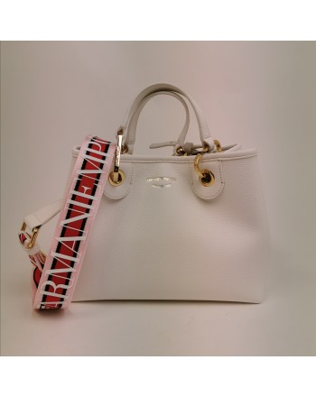 EMPORIO ARMANI - Leather shopping bag - White/Leather