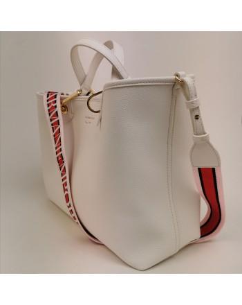 EMPORIO ARMANI - Borsa shopping in pelle Bianco/Cuoio