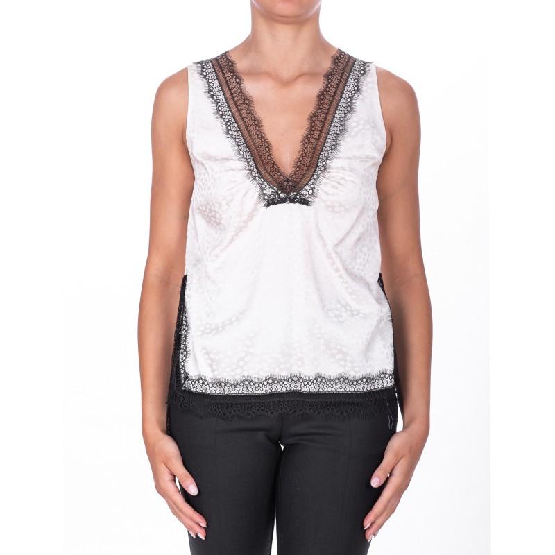 PINKO - Top ALDO in Jacquar with lace - White/Black