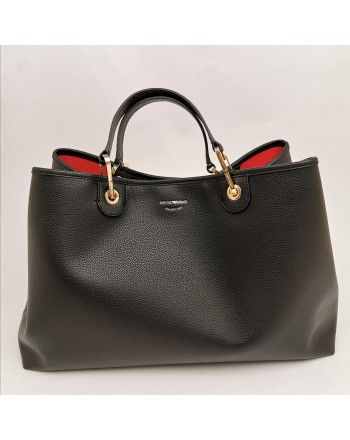 EMPORIO ARMANI - Leather shopping bag - Black/Red
