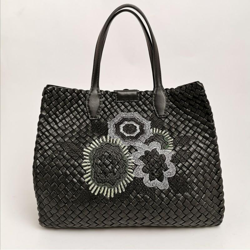 FALOR -  Pleited leather shopping bag