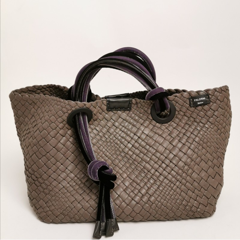 FALOR -  Plaited leather bag with velvet details