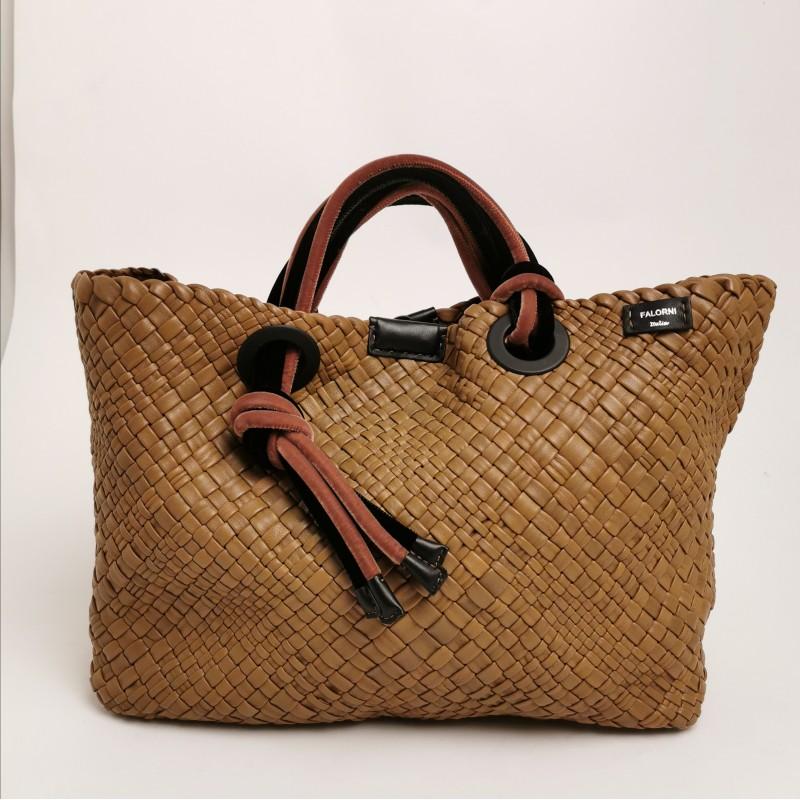 FALOR -  Plaited leather mustard bag with velvet details
