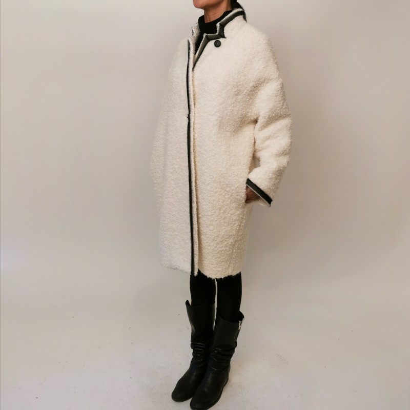 PHILOSOPHY di LORENZO SERAFINI - Wool and Alpaca Jacket with Logo- Ivory