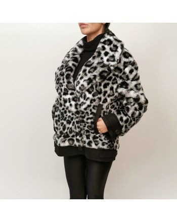 ALBERTA FERRETTI - Animalier Faux fur Jacket - White