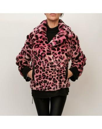 ALBERTA FERRETTI - Animalier Faux fur Jacket - Pink