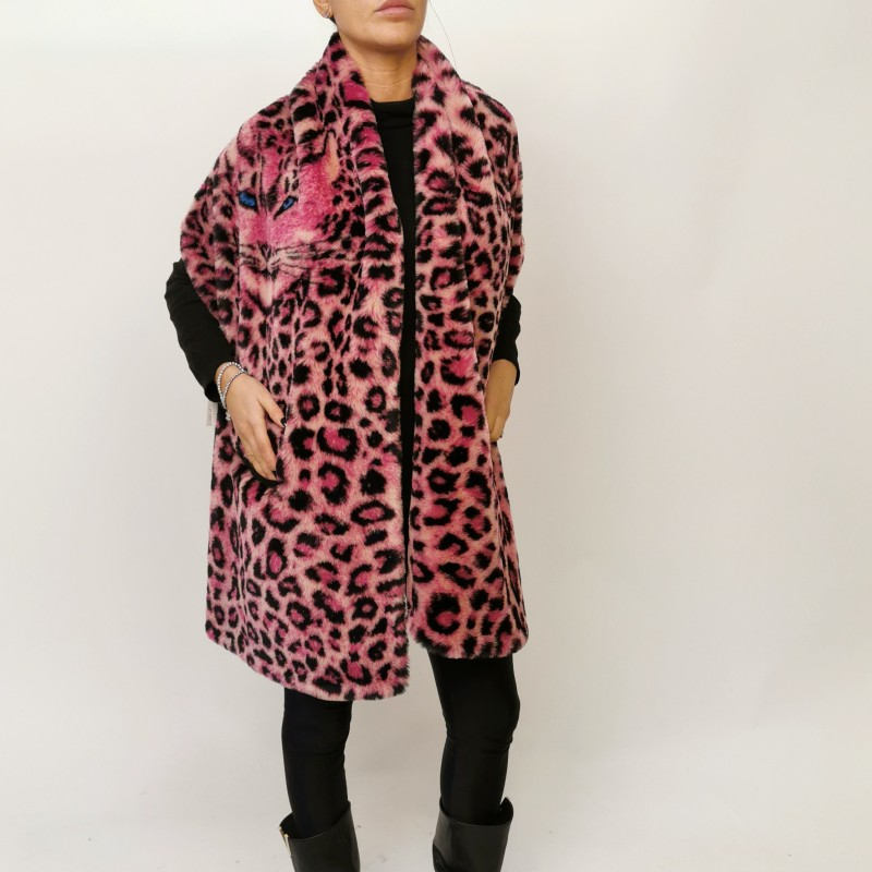 ALBERTA FERRETTI - Animalier Faux fur Stole- Pink