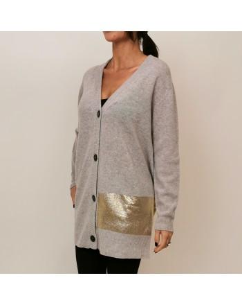 PINKO - Wool Cardigan with Paint Details FIAMMINGO - Grey
