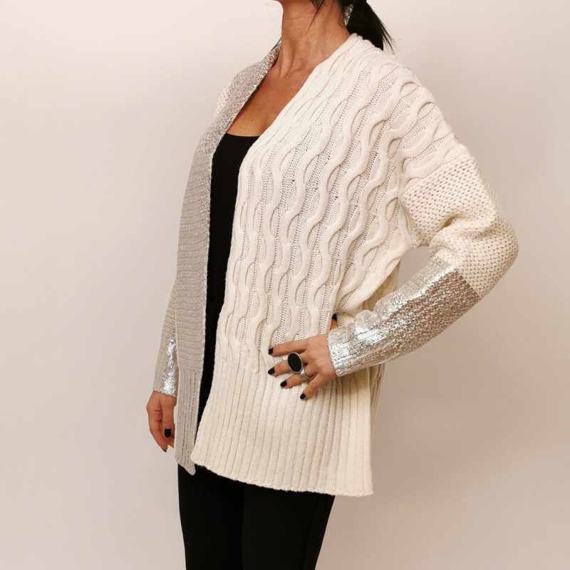 PINKO -Paint Details Cardigan - Cream/Silver