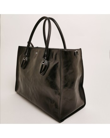 TOD'S -  Black Calfskin shopping bag