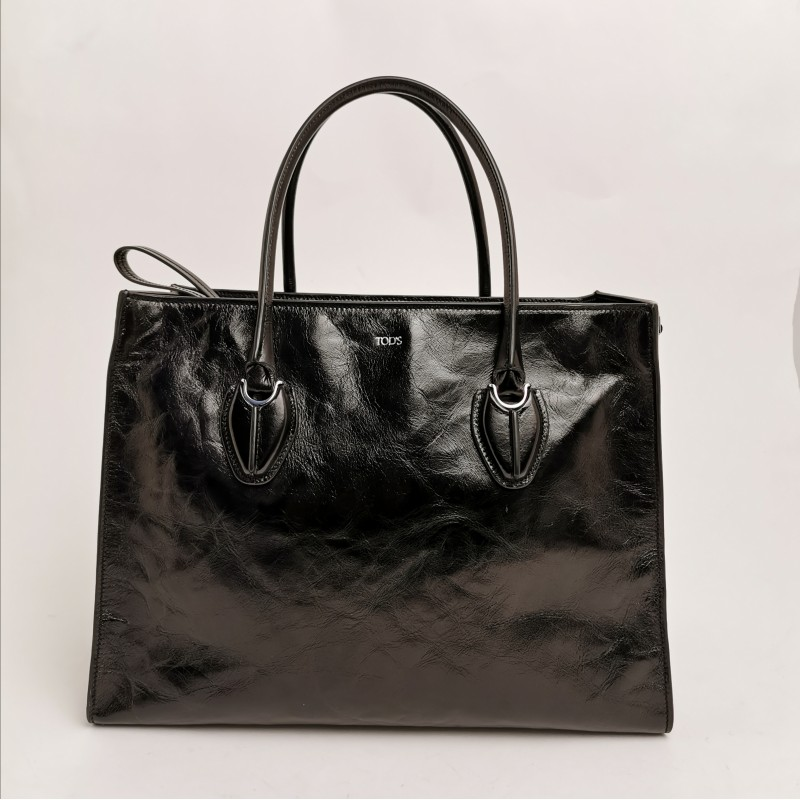 TOD'S -  Shopping bag nera in pelle di vitello