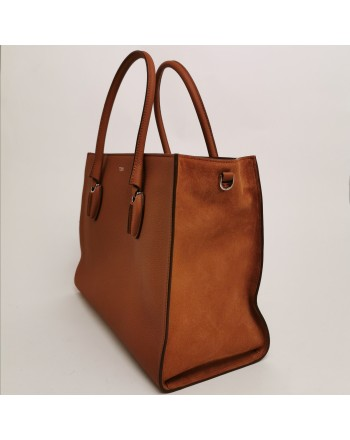 TOD'S -  Shopping bag mattone in pelle di vitello