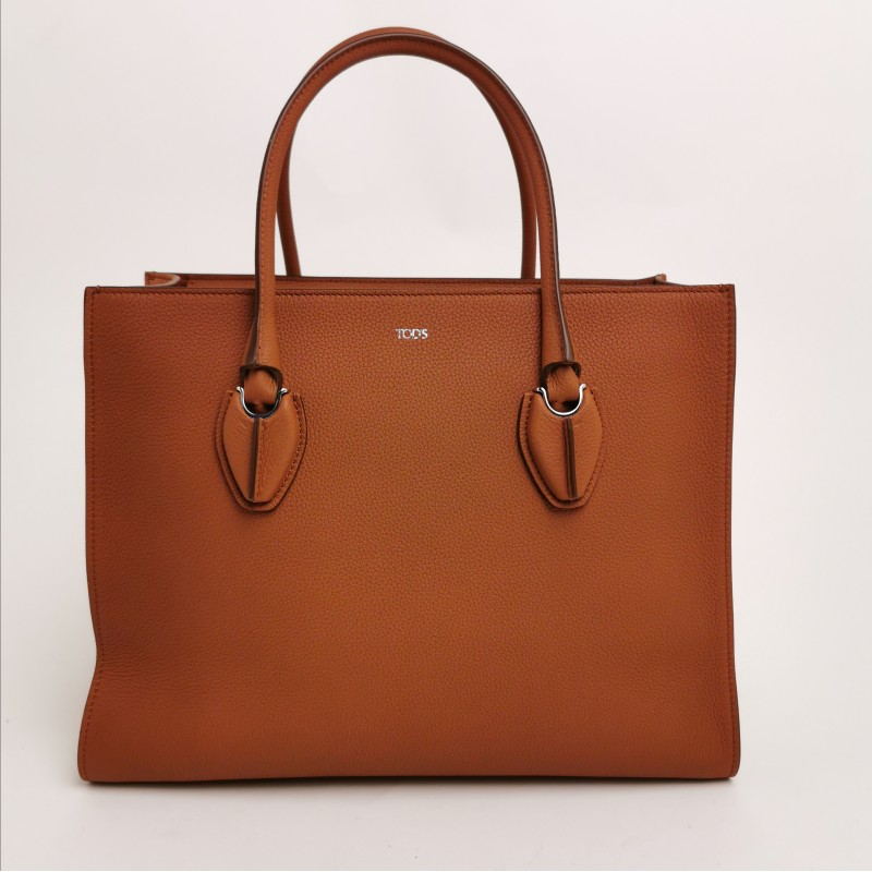 TOD'S -  Bricky calfskin shopping bag