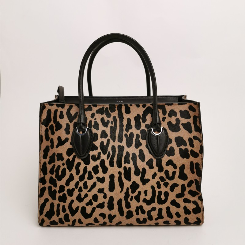 TOD'S -  Shopping bag animalier in pelle di vitello