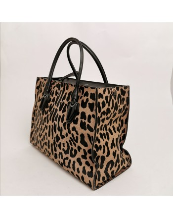 TOD'S -  Animalier Calfskin shopping bag