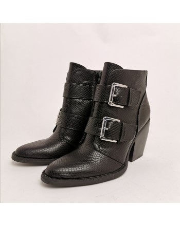 MADDEN GIRL - Texan Boots with Reptile Print - Black