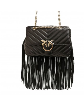 PINKO - LOVE WALLET FRINGES LEATHER BAG - Black