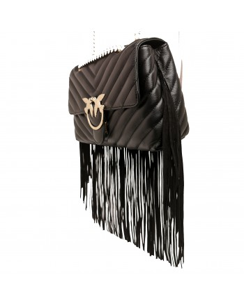 PINKO - BORSA IN PELLE LOVE WALLET FRINGES - Nero