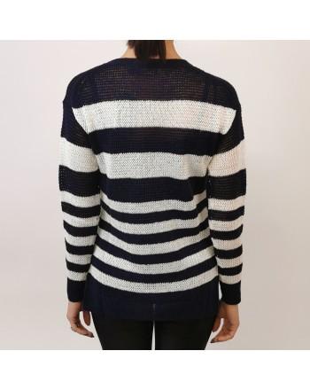 POLO RALPH LAUREN - Stripped linen sweater - Navy/White