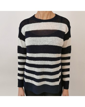 POLO RALPH LAUREN -  Maglia in lino a righe - Navy/Neve